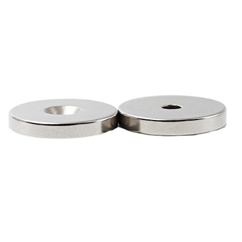 Rare Earth Neodymium Magnet - 2pc Set Utility/Tool Holder Magnets Round 1.26in / 32mm Diameter - Very Strong NdFeB Magnetic Cup Disc with Screw Mounting Hole