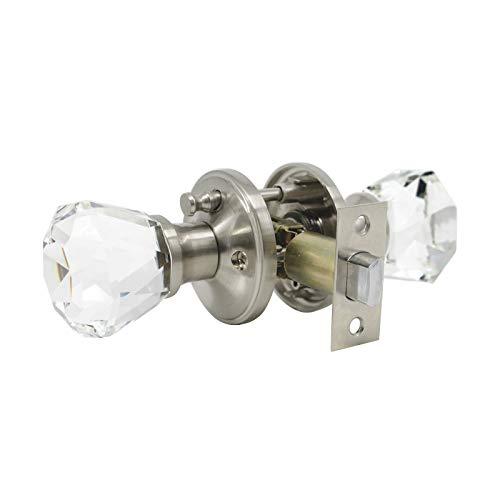 (Glass Crystal Door Knob with Lock, Tulip Knob Style Privacy Function Lock Knob, Satin Nickel Finish Interior Doorknob for Bedroom Bathroom – 2Pack)