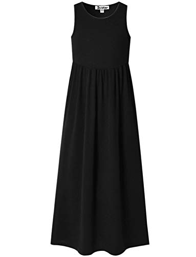 Ankle Length Dresses For Girls (Maxi Dresses for Big Girls 10 12 Black Long Dress Party Special Occasion)