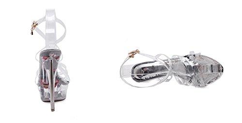 Impermeabilizzano Alto Tacco Selvaggio Transparent Sandali Della Modello 38 Nvxie 34 Modo Impermeabili Cerimonia Passerella Stiletto Del Delle Di Il Da Piattaforma Sexy Col Scarpe Cristallo Nuziale v0x4XI