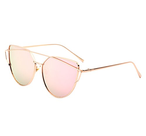YANQIUYU Stylish Metal Frame Cat Eye Sunglasses for Women Mirrored Flat Lens (Pink Lens/Gold Frame, - Sunglasses Korean Fashion