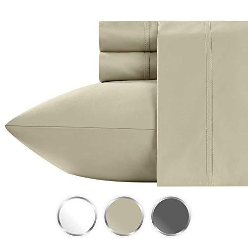 1000 Thread Count 100% Pure Cotton Bed Sheets on Amazon, 4-Piece Highest Quality Queen Size Taupe Sheet Set, Single Ply Long-Staple Premium Yarns, Sateen Weave, Fits Mattress Upto 20'' Deep Pocket