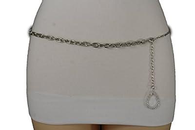 TFJ Women Fashion Belt Hip High Waist Silver Metal Chain Links Plus Size M L XL