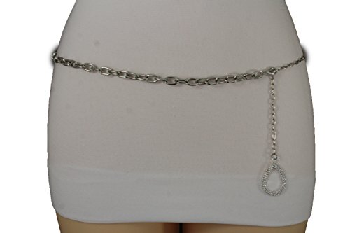 TFJ Women Fashion Belt Hip High Waist Silver Metal Chain Links Plus Size M L XL - Link Hip Belt