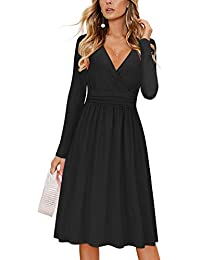 Womens Long Sleeve V-Neck Wrap Waist Party Dress with Pockets