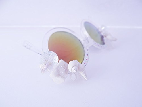 Crytsals Star - White Crytsal Sunnies, By: Star Stuff Boutique, Decorated Sunnies, Clear Shades, Jeweled Eyewear, Burningman Sunglasses, Rave, SIren, Mermaid Party, Rave Accessories