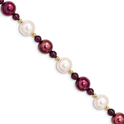 ICE CARATS 14kt Yellow Gold 10 11 White 10mm Cranberry Freshwater Cultured Pearl Red Garnet Bracelet 7.5 Inch Gemstone Fine Jewelry Ideal Gifts For Women Gift Set From Heart - Mother Of Pearl Yellow Bracelet