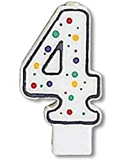 Creative Converting Polka Dot Numeral 4 Birthday Candle