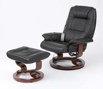 Bon Leather Electric Massage Recliner Chair With Footstool Cream