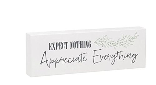 Expect Nothing Appreciate Everything Box Sign  8  X 4  X 1 5