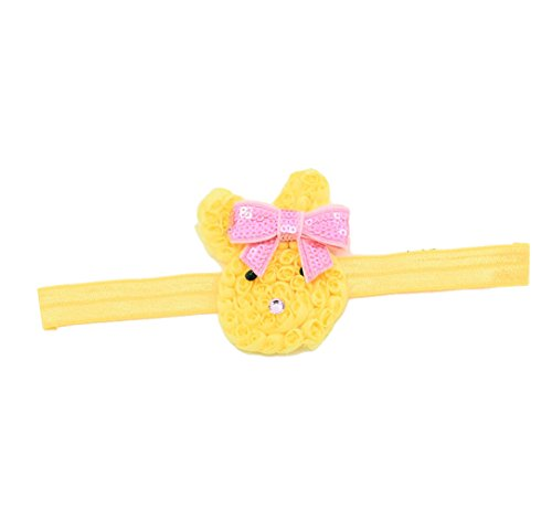 Cute Baby Grils Headband Bunny Rabbit Ears with Sequin Bows for Easter gift JHE01 (Yellow)