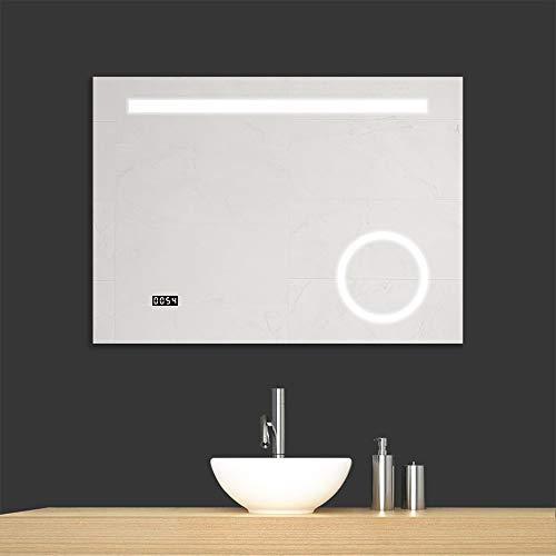 Gatesea 1000x700mm LED Lighted Bathroom Mirror Wall Mounted Anti-fog + Clock + -