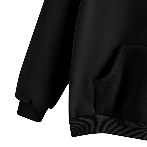 Plume Fille Chic lgant Pull Lache Noir Poche Hiver avec Automne Shirt Sport Blouse Longues Manches Casual Capuche Femme Sweat Top Mode Fte Vtements Haut xO0gqpxR6w