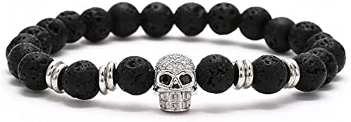 1 Pc Sieraden Bangles voor Mannen Vulkanische Steen Zwarte Zirkoon Schedel Armband Mannen Sieraden Zilver