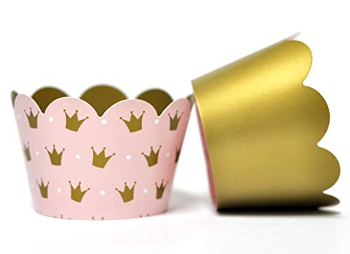 Princess Cupcake Wrappers for Girls Birthday Parties, Baby Showers, Bridal Showers, or Regal Weddings. Set of 24 Reversible Millennia Pink and Gold Crown patterned Cup Cake Holder Wraps. Pale Pink ()