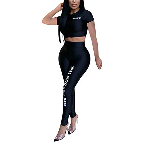 Nhicdns Track Suit for Women Set - Two Piece Sprots Outfits Short Sleeve Bodycon Jumpsuit Tracksuit Set Black XL