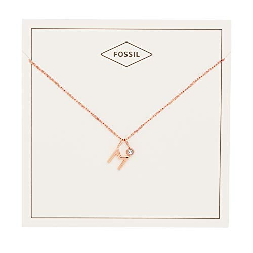 Pendant Fossil Rose (Fossil Women's Letter M Rose Gold-Tone Stainless Steel Necklace, One Size)