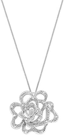 Carissima Gold 9 ct White Gold 0.10 ct Diamond Rose Pendant on Chain Necklace of 46 cm/18 inch