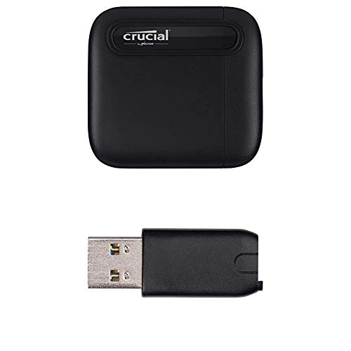 Crucial X6 1TB Portable SSD – Up to 540MB/s – USB 3.2 – USB-C - CT1000X6SSD9 + USB-C to USB-A Adapter - CTUSBCFUSBAMAD