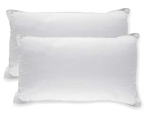 White timeless Down-Alternative soft Bed Pillows Sleeping - 100% Cotton Pillow Cover - Hypoallergenic Dust Mite tolerant - No Flattening - King Size - 2-Pack
