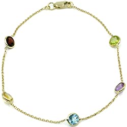 "Multi-Color Gemstone Bracelet ,14k Yellow Gold Lobster Lock, 8"" Long"