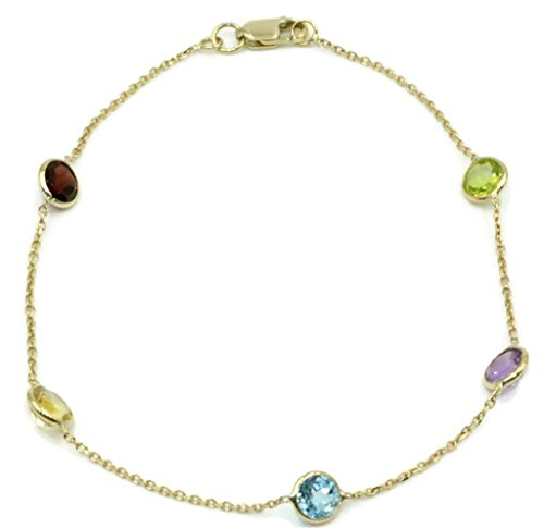 Multi-Color Gemstone Bracelet ,14k Yellow Gold Lobster Lock, 8