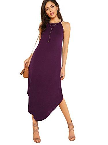 Floerns Womens Solid Sleeveless Hlater Neck Curved Hem Maxi Dress