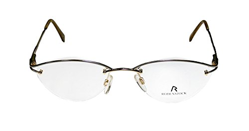 Rodenstock R4202 Womens/Ladies Ophthalmic Premium Quality Designer Half-rim Flexible Hinges Eyeglasses/Spectacles (51-17-135, Silver / Gold)
