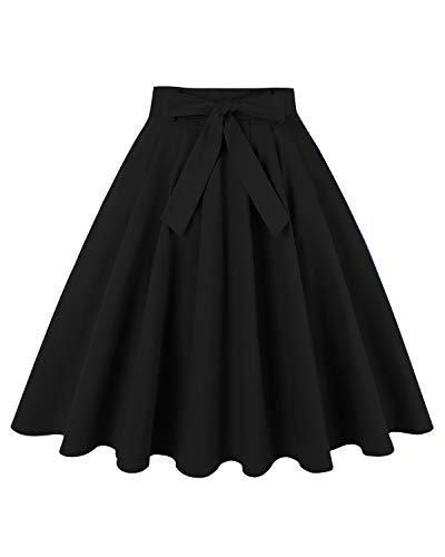 (MINTLIMIT Women's High Waist Flared Skirt Pleated Midi Skirt with Pockets(Solid Black,Size M))