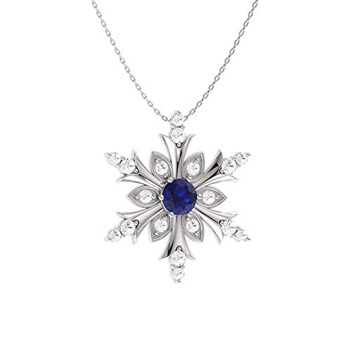 Diamondere Natural and Certified Blue Sapphire and Diamond Snowflake Necklace in 14k White Gold | 0.20 Carat Pendant with -
