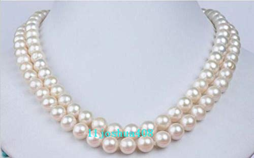 FidgetFidget Double Strands AAA 7-8mm White Akoya Round Pearl Necklace 17
