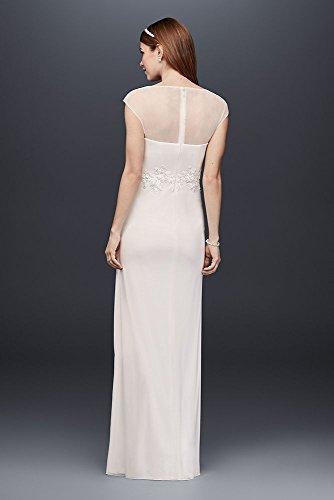 Lace-Applique-Illusion-Mesh-Sheath-Wedding-Dress-Style-184336DB