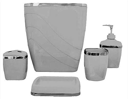 Home Fashions Grey Bathroom Acessories Set Silver Trimmed 5 Pc (Gray Set Accessories Bathroom)