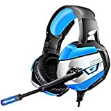 ONIKUMA Gaming Headset - Gaming Headphone for PS4, Xbox One, PC, Stereo USB Headset with Noise Cancelling Mic and LED Light, Over Ear Headphones for Mac and Nintendo Switch Games