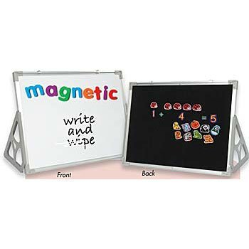Constructive Playthings 3 'N 1 Magnetic 18'' x 24'' Write and Wipe Reversible Flannel Board with Stand for Ages 3 Years and Up