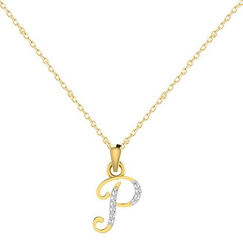 """Libertini Pendentif argent 925 plaque or Jaune serti de Diamant en forme de """"P"""" Alphabet"""