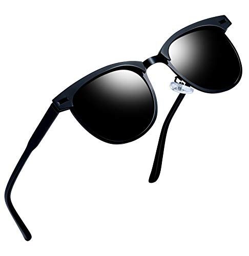 Black Lens Sunglasses - Joopin Semi Rimless Polarized Sunglasses Women Men Retro Brand Sun Glasses (Black Metal)