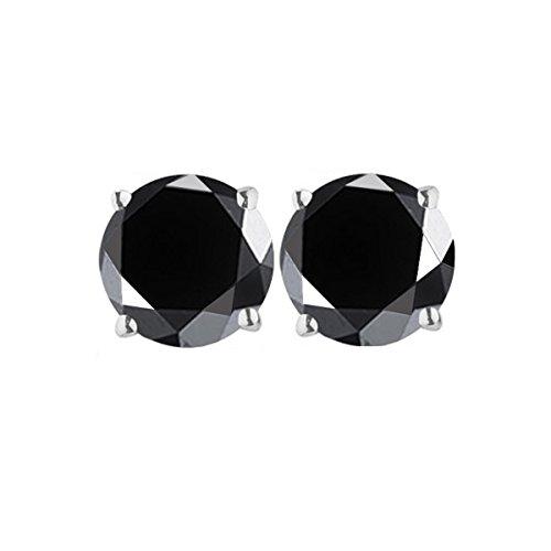RINGJEWEL 4.08 ct Black Round Real Moissanite Solitaire Stud Earrings
