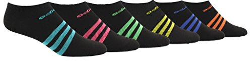 adidas Womens Superlite No Show Socks (6-Pack), black/hi/Res aqua green/real pink/shock lime green, 5-10