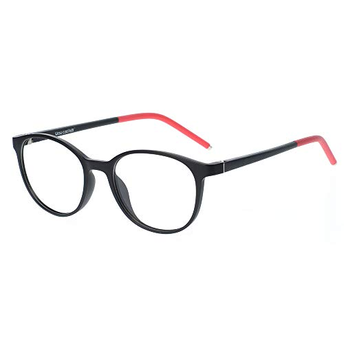 Teens Kids Glasses Frame Flexible Smart Looks Cute Black and Red Eyewear Frame with Clear Round Lens for Boys Girls(Age 5-12) ()