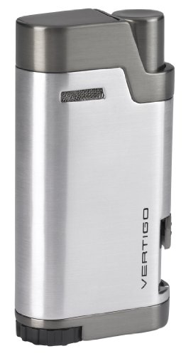NEW VERTIGO by LOTUS BULLET DOUBLE WIND RESISTANT TORCH FLAMES CIGAR/CIGARETTE LIGHTER WITH CIGAR PUNCH - SILVER ()