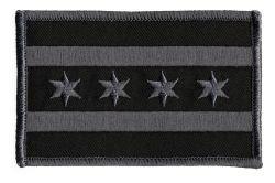 Chicago Flag (Grey on Black) - 3-1/2 x 2-1/4