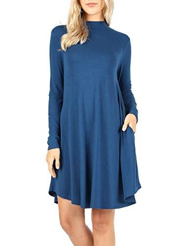 12 Ami Mock Neck Long Sleeve Flowy Pocket T-Shirt Midi Dress (S-3X)