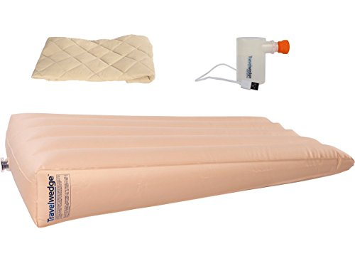 Mid-Size Inflatable Bed Wedge with Custom Fitted Peach Skin Cover AND Mini USB Powered Air Pump. Acid Reflux Wedge, Helps Reduce Symptoms of Acid Reflux, (45 X 30 X 8), Lightweight for Travel, 3 lbs