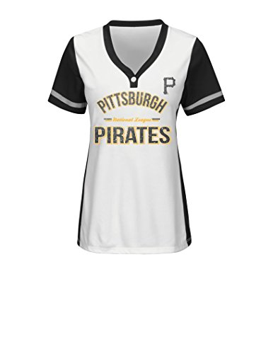 MLB Pittsburgh Pirates Women's Team Name Rugged Competitor Pull Over Color Block Jersey, Large, White/Black