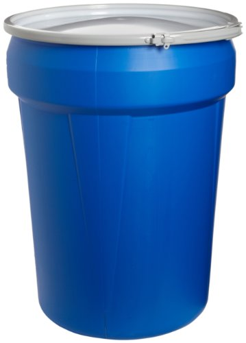 "Eagle 1601MB Blue High Density Polyethylene Lab Pack Drum with Metal Lever-lock Lid, 30 gallon Capacity, 28.5"" Height, 21.25"" Diameter"