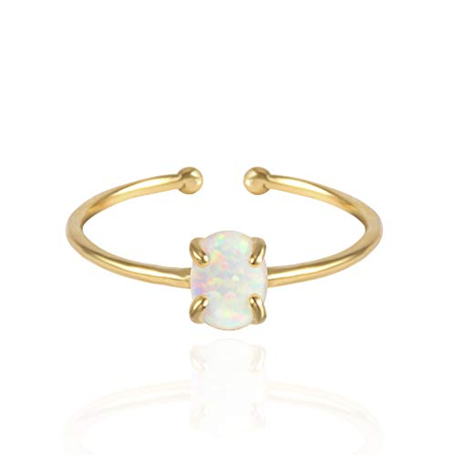 MUSTHAVE 14K Rose Gold Plated Opal Ring, White/Green/Pink Opal Ring, Adjustable Size (Yellow Gold)