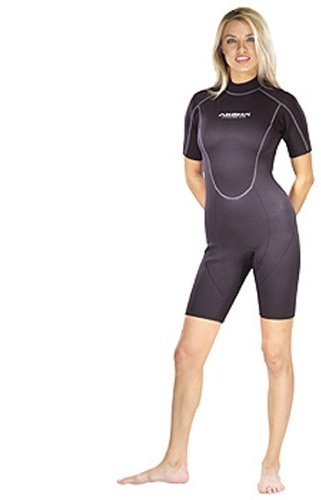 Akona 3mm Shorty Shortie Spring Wetsuit for Scuba Diving, Snorkeling, Surfing , Watersports Womens - Ladies Shortie Wetsuit
