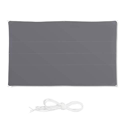 Relaxdays, Gris Toldo Vela Rectangular, Impermeable, Protección Rayos UV, con Cuerdas para tensar, 4x6m, 4 x 6 m