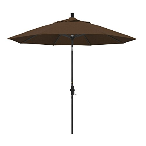 California Umbrella 9' Round Aluminum Market Umbrella, Crank Lift, Collar Tilt, Black Pole, Teak Olefin